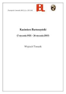 Kazimierz Bartoszyński (7 stycznia 1921 – 26 stycznia 2015)