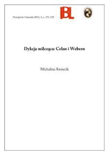 Dykcja milcząca: Celan i Webern