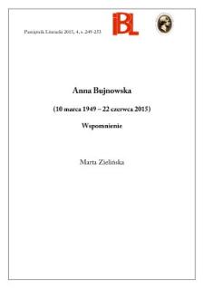 Anna Bujnowska (10 marca 1949 – 22 czerwca 2015). Wspomnienie