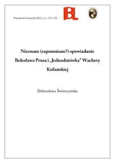 """Nieznane (zapomniane?) opowiadanie Bolesława Prusa i """"Jednodniówka"""" Wacławy Kiślańskiej"""