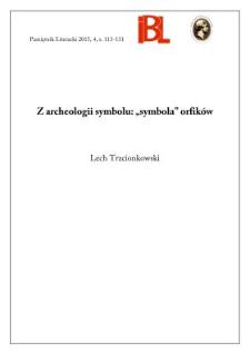 """Z archeologii symbolu: """"symbola"""" orfików"""