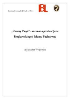 """""""Czarny Paryż"""" – nieznana powieść Jana Brzękowskiego i Jolanty Fuchsówny"""