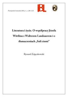 """Literatura i życie. O współpracy Józefa Wittlina z Walterem Landauerem i o tłumaczeniach """"Soli ziemi"""""""