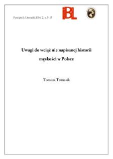 Uwagi do wciąż nie napisanej historii męskości w Polsce
