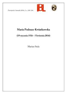 Maria Podraza-Kwiatkowska (19 stycznia 1926 - 5 kwietnia 2016)