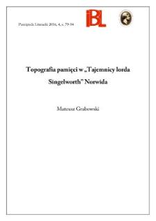 """Topografia pamięci w """"Tajemnicy lorda Singelworth"""" Norwida"""