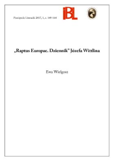 """Raptus Europae. Dziennik"" Józefa Wittlina"