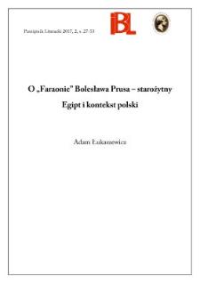 """O """"Faraonie"""" Bolesława Prusa – starożytny Egipt i kontekst polski"""