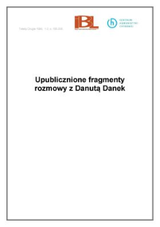 Upublicznione fragmenty rozmowy z Danutą Danek