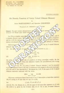 On density function of vector valued Gleason measure