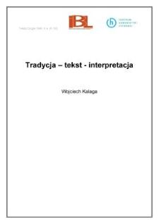 Tradycja - tekst - interpretacja