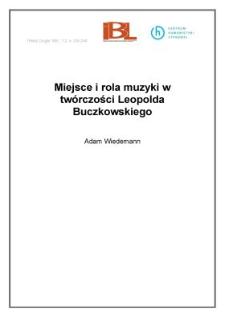 Miejsce i rola muzyki w twórczości Leopolda Buczkowskiego
