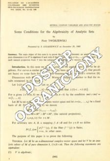 Some conditions for the algebraicity of analytic sets