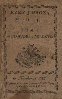Rymy J Proza. T. 1, Skotopaski y Miłostki
