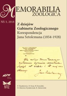 Z dziejów Gabinetu Zoologicznego : korespondencja Jana Sztolcmana (1854-1928)