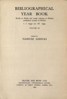 Rocznik Bibliograficzny Druków w Języku Polskim oraz w Językach Obcych o Polsce Wydanych poza Terytorium Rzeczypospolitej Polskiej 1943
