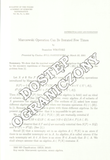 Marczewski operation can be iterated few times