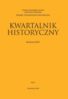 Kwartalnik Historyczny R. 125 nr 1 (2018), Title pages, Contents