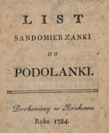 List Sandomierzanki Do Podolanki