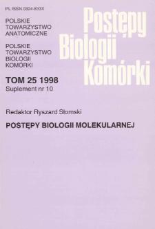 Postępy biologii komórki, Tom 25 supl. 10, 1998