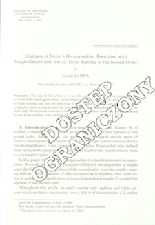 Examples of Peirce's decomposition associated with simple generalized Jordan triple systems of the second order