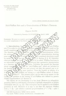 Sub-Pfaffian sets and a generalization of Wilkie's theorem