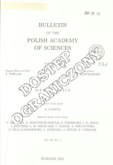 Bulletin of the Polish Academy of Sciences. Mathematics T.49, 2001, Spis treści i dodatki