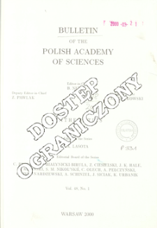 Bulletin of the Polish Academy of Sciences. Mathematics T.48, 2000, Spis treści i dodatki