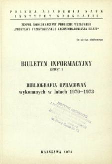Bibliografia opracowań wykonanych w latach 1970-1973
