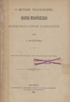 O metodzie teleologicznej Hoene-Wrońskiego rozwiązywania równań algebraicznych