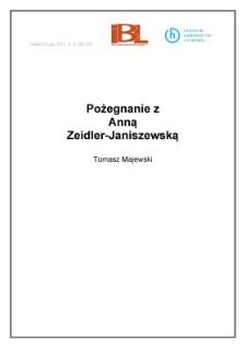 Pożegnanie z Anną Zeidler-Janiszewską