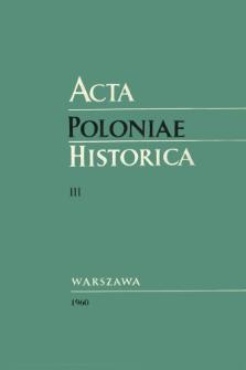 Acta Poloniae Historica T. 3 (1960), Strony tytułowe, spis treści