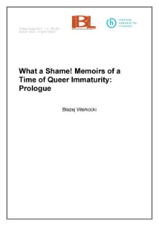What a Shame! Memoirs of a Time of Queer Immaturity: Prologue