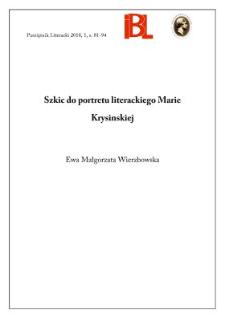 Szkic do portretu literackiego Marie Krysinskiej