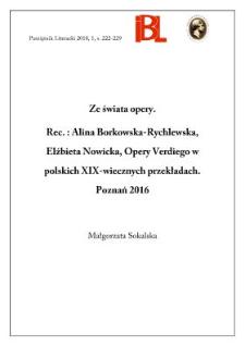 Ze świata opery. Rec.: Alina Borkowska-Rychlewska, Elżbieta Nowicka, Opery Verdiego w polskich XIX-wiecznych przekładach. Poznań 2016