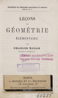 Leçons de géométrie élémentaire : atlas