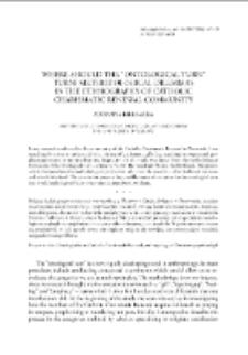 "Where Should the ""Ontological Turn"" Turn? Methodological Dilemmasi n the Ethnography of Catholic Charismatic Renewal Community"
