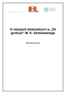 """O relacjach tekstualnych w """"Dii gentium"""" M. K. Sarbiewskiego"""