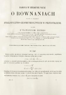 Badania w dziedzinie nauki o równaniach oparte na poglądach analityczno-geometrycznych w przestrzeni
