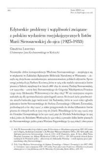 Edytorskie problemy i wątpliwości związane z polskim wydaniem rosyjskojęzycznych listów Marii Sieroszewskiej do ojca (1925-1933)