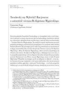"""Trembecki czy Wybicki? Raz jeszcze o autorstwie wiersza """"Do Kajetana Węgierskiego"""""""