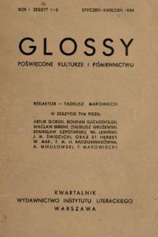 Glossy : poświęcone kulturze i piśmiennictwu 1939 N.1-2