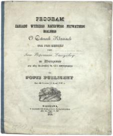 Program zakładu wyższego naukowego prywatnego realnego o czterech klassach dla płci męskiej w Warszawie przy ulicy Sto-Jerskiéj Nr.1775 utrzymywanego na popis publiczny dnia 22 czerwca (4 lipca) 1848 r.