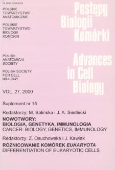 Postępy biologii komórki, Tom 27 supl. 15, 2000