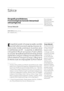 Etnografia przedtekstowa. Fenomenologiczne korzenie interpretacji antropologicznej
