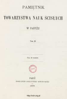 Pamiętnik Towarzystwa Nauk Ścisłych w Paryżu T. 11 (1879), Table of contents and extras