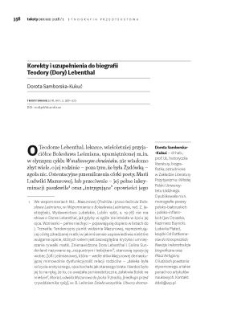 Korekty i uzupełnienia do biografii Teodory (Dory) Lebenthal
