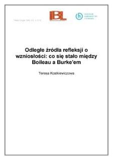 Odległe źródła refleksji o wzniosłości: co się stało między Boileau a Burke`em