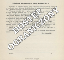 Kalendarzyk astronomiczny na miesiąc wrzesień 1911 r.