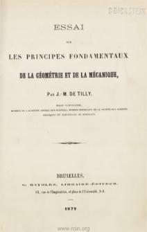 Essai sur les principes fondamentaux de la géométrie et de la mécanique